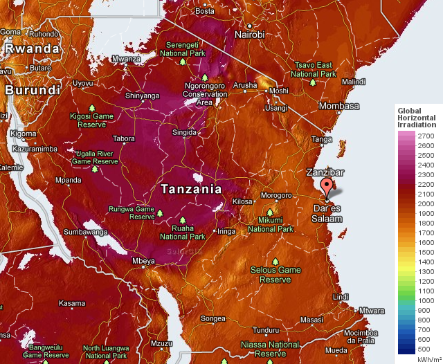 Solar radiation in Tanzania (yearly average)